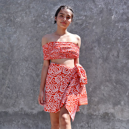 Handmade Batik Sarong Orange Surprise