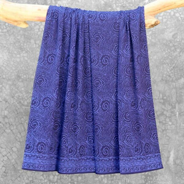 Batik Sarong Rayon Beautiful Blue African Swirl