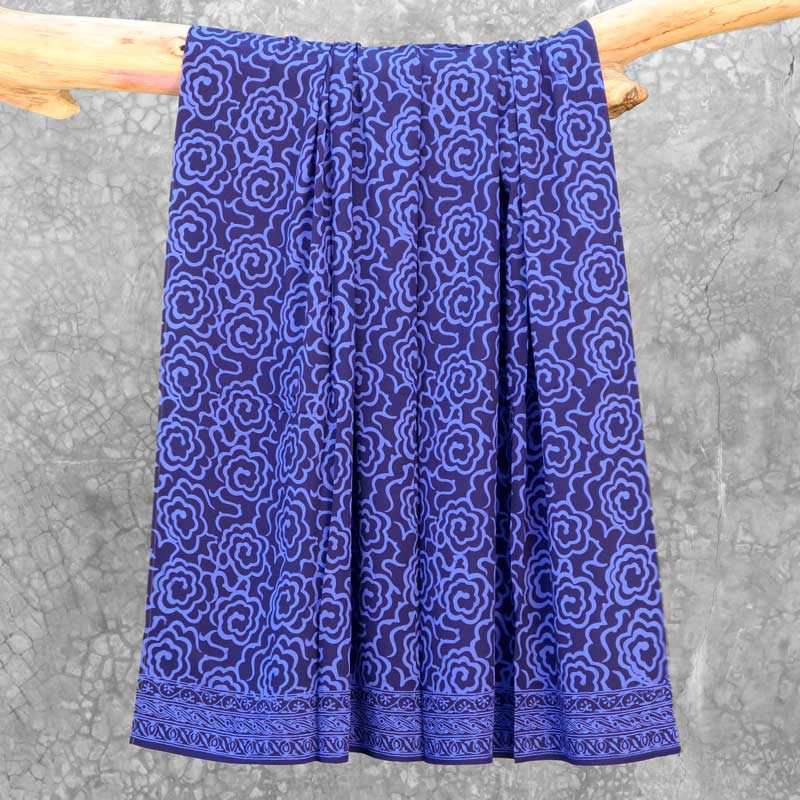 Batik Sarong Rayon Beautiful Blue Mim Flowers
