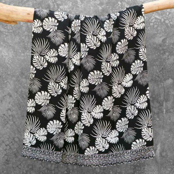 Batik Sarong Rayon Black Cream Tropical Leaves