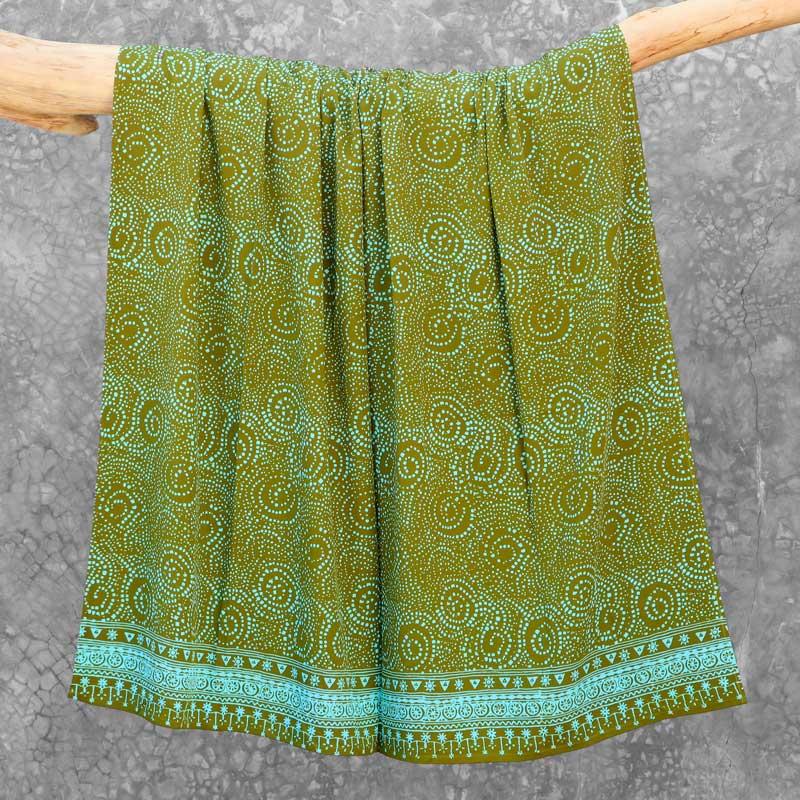 Batik Sarong Rayon Green Fizz African Swirl