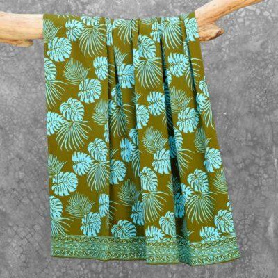 Batik Sarong Rayon Green Fizz Tropical Leaves