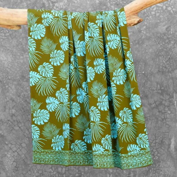Batik Sarong Rayon Green Fizz Tropical Leaves