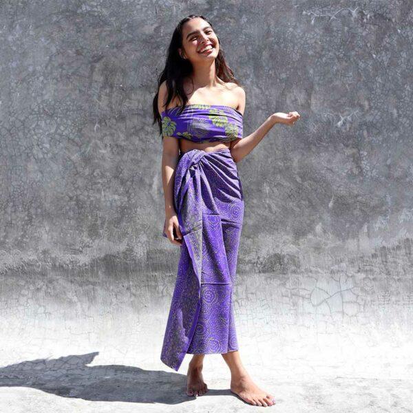 Batik Sarong Rayon Lavender Green