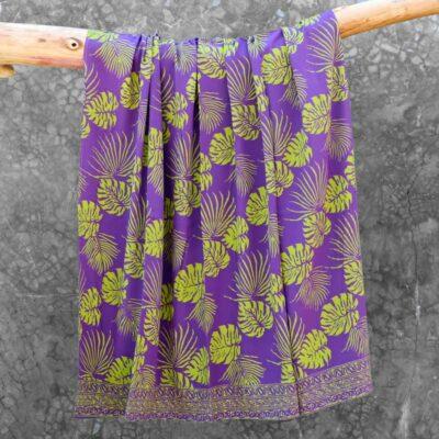 Batik Sarong Rayon Lavender Green Tropical Leaves