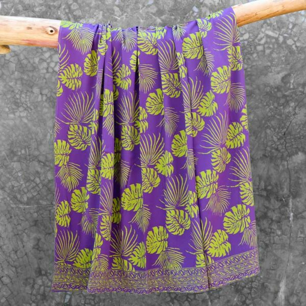 Batik Sarong Rayon Lavender Green Tropical Leaves