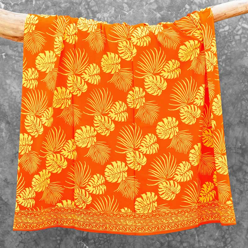 Batik Sarong Rayon Orangina Tropical Leaves