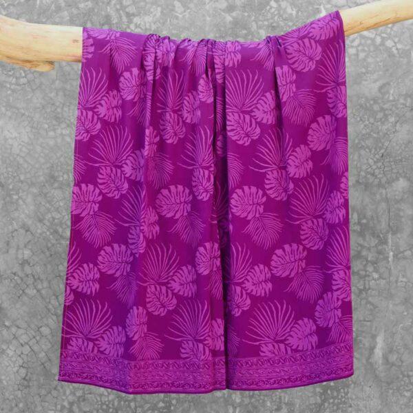 Batik Sarong Rayon Purple Dream Tropical Leaves