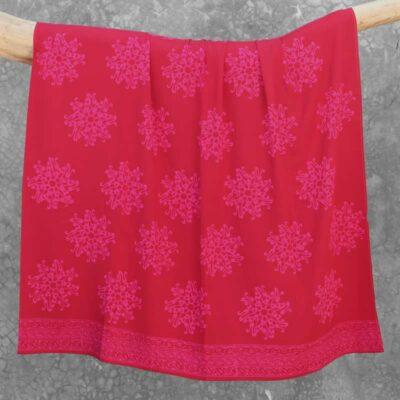 Batik Sarong Rayon Raspberry Pita Flower