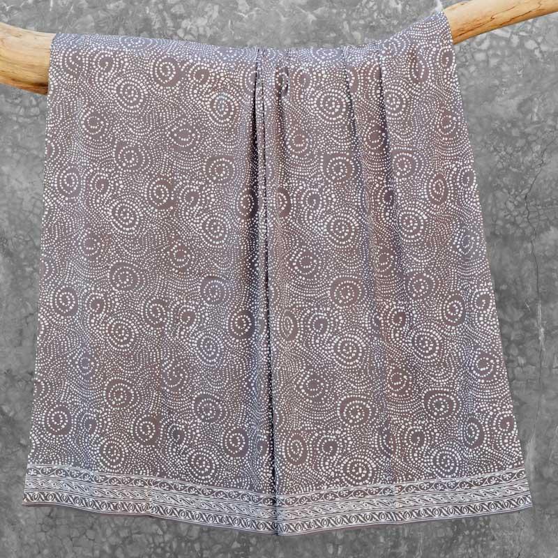 Batik Sarong Rayon Silver Slate African Swirl