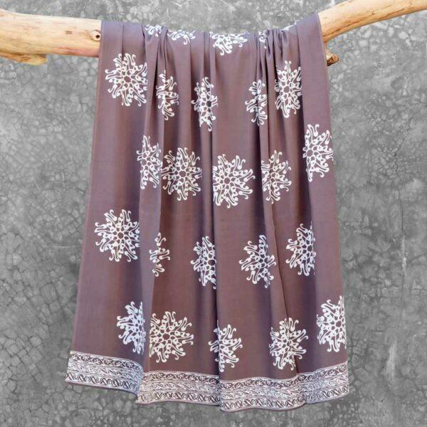 Batik Sarong Rayon Silver Slate Pita Flower