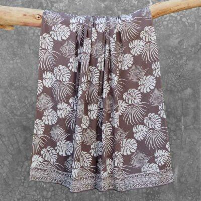 Batik Sarong Rayon Silver Slate Tropical Leaves