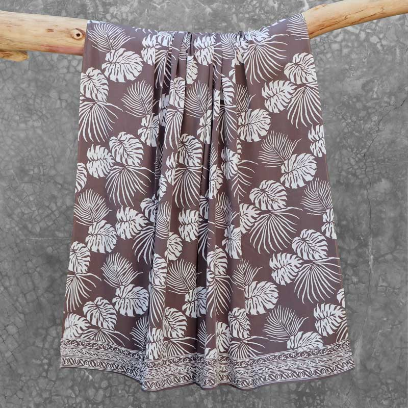 Batik Sarong Rayon Silver Slate Tropical Leaves
