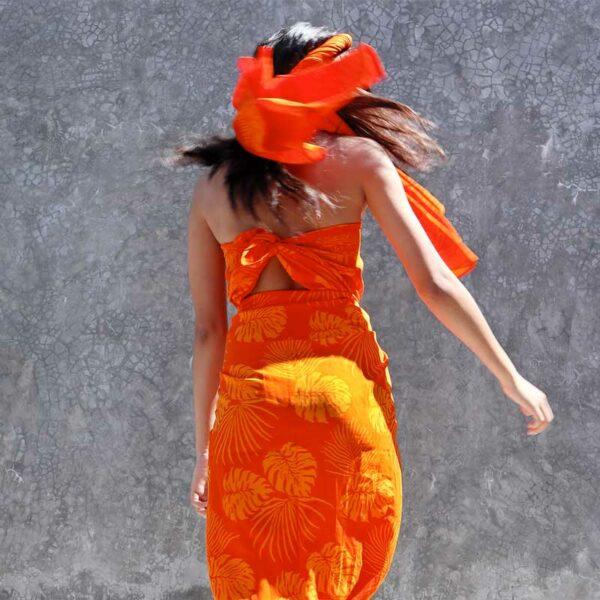 Batik Sarong Rayon Tangerine Frenzy