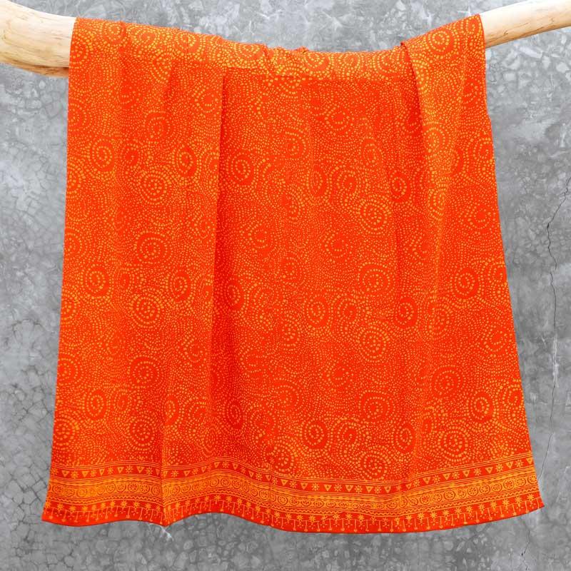 Batik Sarong Rayon Tangerine Frenzy African Swirl
