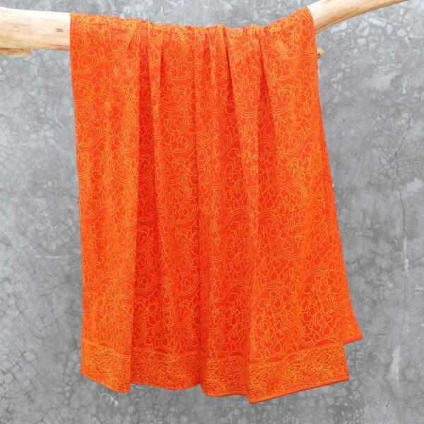 Batik Sarong Rayon Tangerine Frenzy Clouds