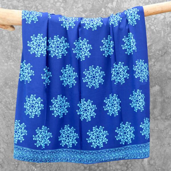 Batik Sarong Rayon Turquoise Blue Pita Flower