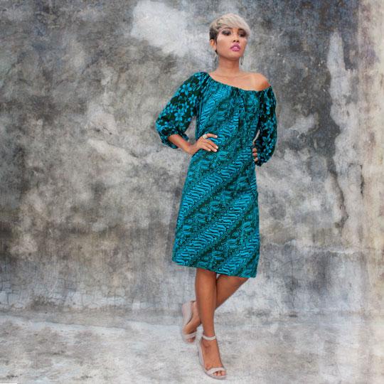 Lookbook Batik Resort Wear Clothing Off Shoulder Dress